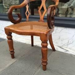 Cane Bottom Chairs Office Exercise Chair 19th Century English Walnut With Arm At