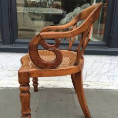 Cane Bottom Chairs Chair Gym Exercise Guide 19th Century English Walnut With Arm At