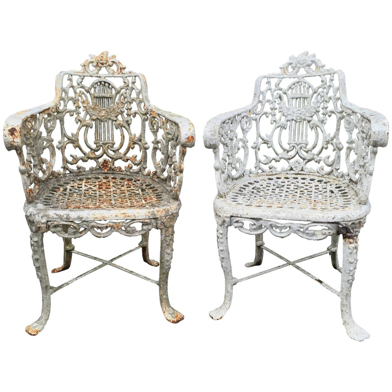 cast iron outdoor chairs chair for sit stand desk pair of english garden late 19th century