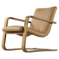Alvar Aalto Style Elm Plywood and Bentwood Cantilever Easy
