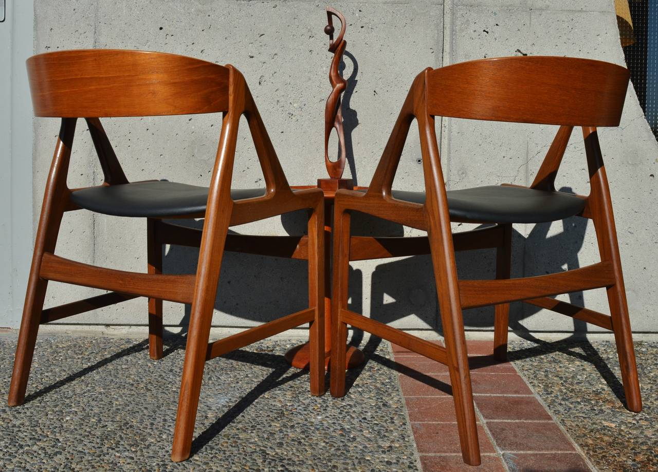 Curved Back Chair Pair Of Danish Teak Curved Back Chairs