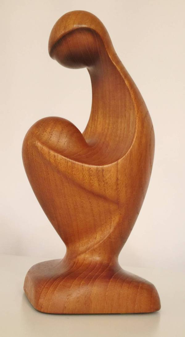 Danish Modern Solid Teak Sculpture Of Mother And Child