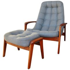 Tufted Chair And Ottoman Brown Club Danish Modern Style Teak Button Lounge