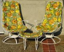 Rare Pair Homecrest Rocking Lounge Chairs And Ottoman