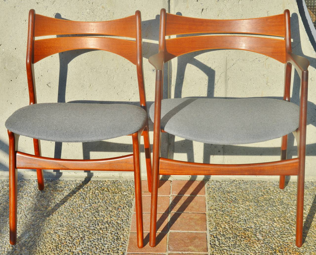 erik buck chairs farmhouse table and plans set six danish teak dining five side