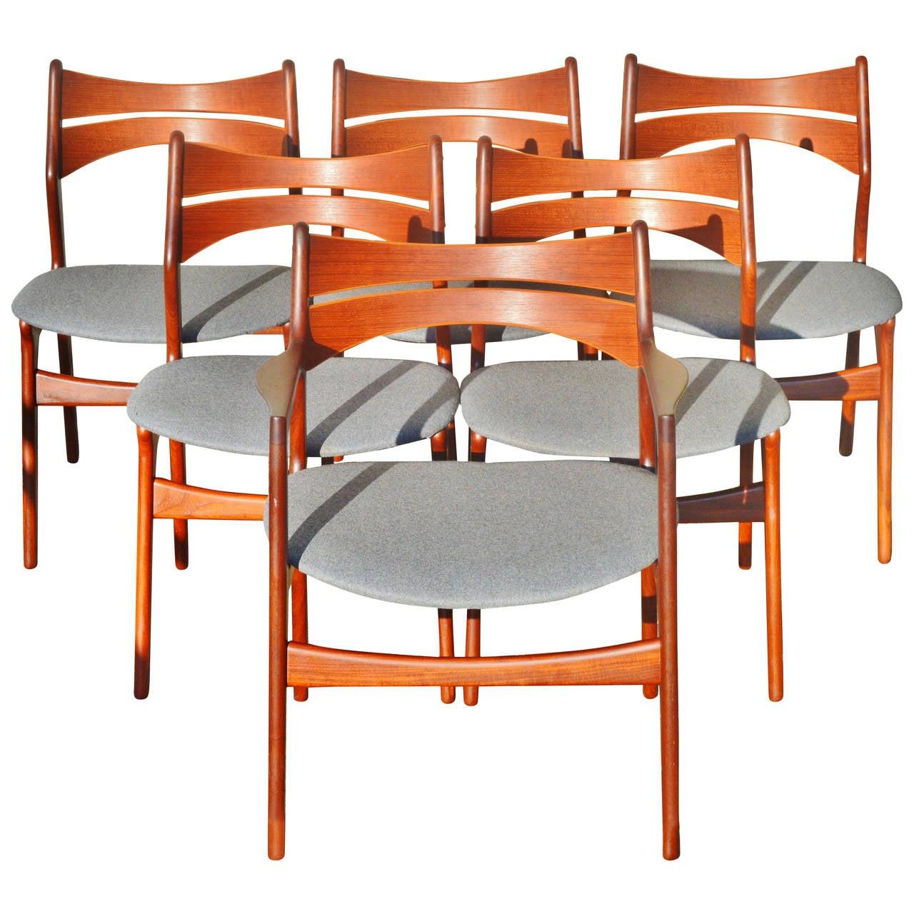erik buck chairs office chair posture buy set six danish teak dining five side