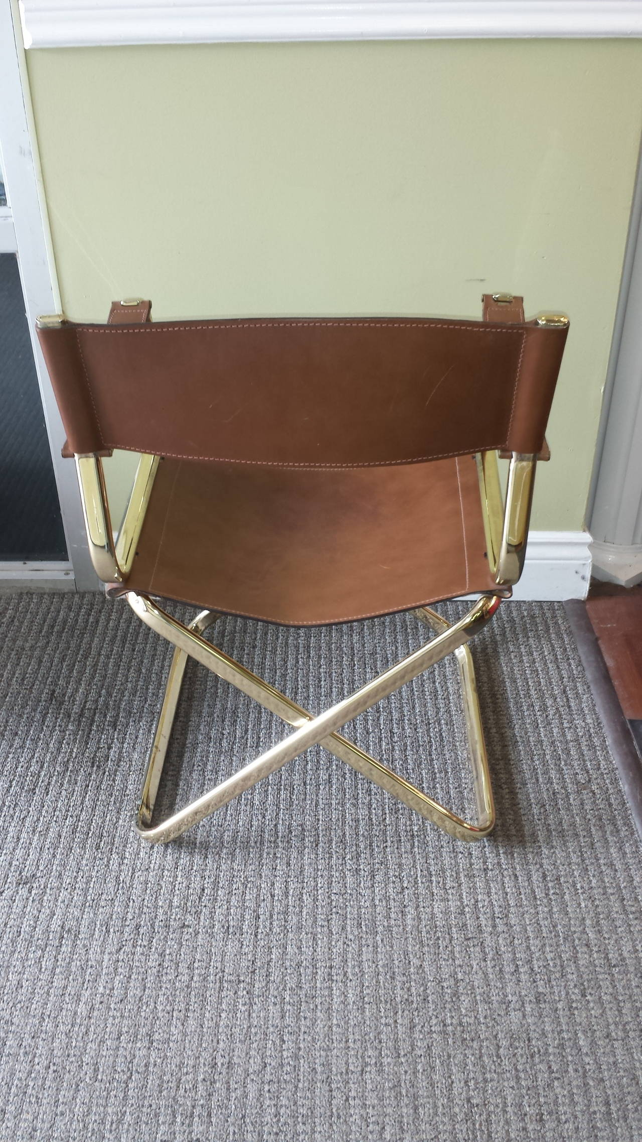 folding chair leather travel beach umbrella mid century italian designed director 39s