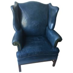 Blue Wing Chair Outdoor Reclining Chaise Lounge Chairs Denim Leather Wingback And Ottoman At 1stdibs