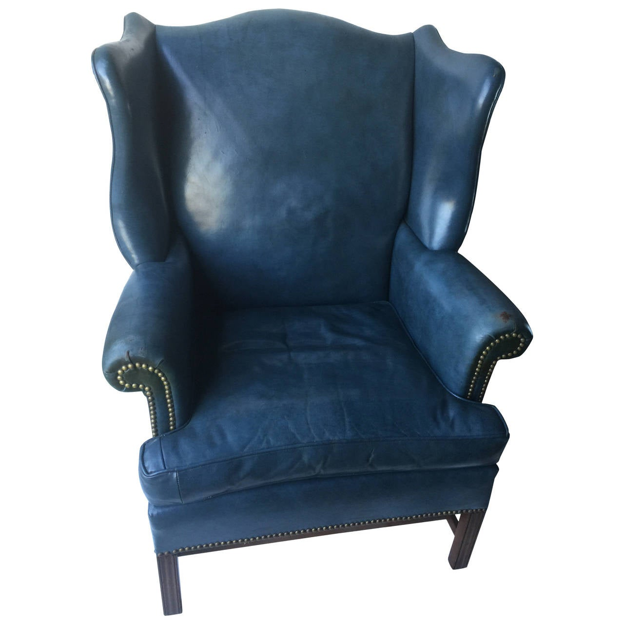 Blue Leather Club Chair Denim Blue Leather Wingback Chair And Ottoman At 1stdibs