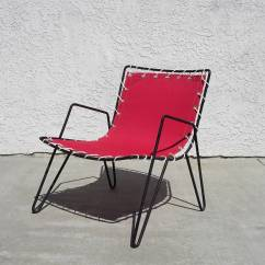Canvas Sling Chair Circular Swivel 1950s Iron And Outdoor Chairs At 1stdibs American For Sale