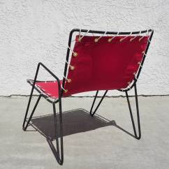 Sling Chair Outdoor Bb Covers Chicago 1950s Iron And Canvas Chairs At 1stdibs