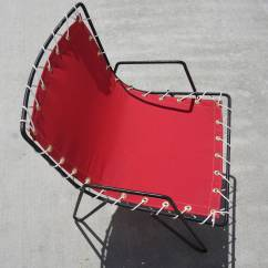 Canvas Sling Chair Red Sashes In Bulk 1950s Iron And Outdoor Chairs At 1stdibs