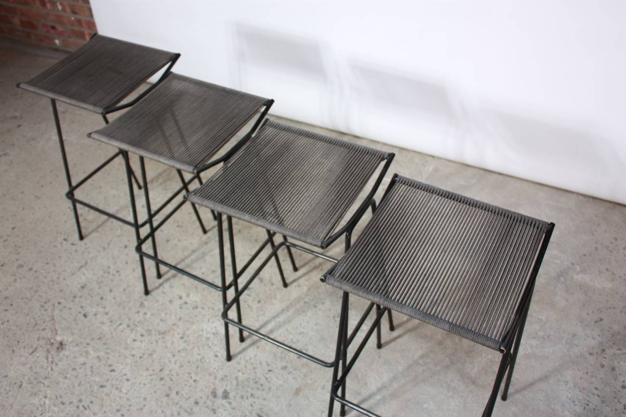 string chair seat buy folding chairs set of four allan gould iron and rope stools for sale at
