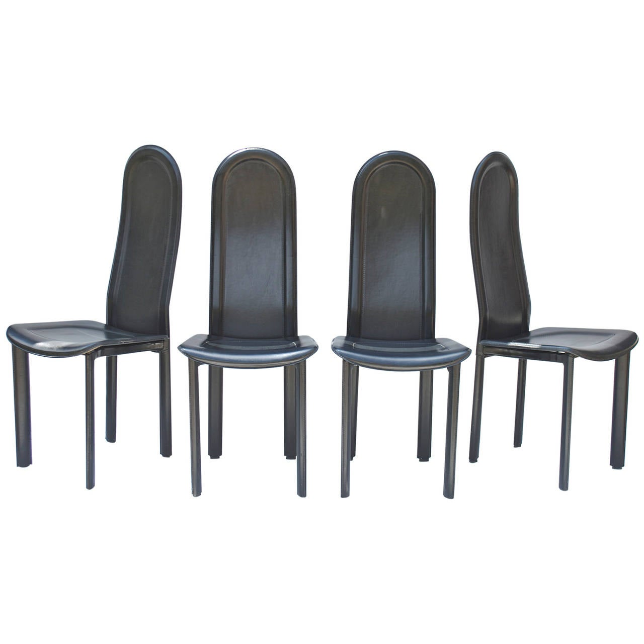 Black Leather Dining Chairs Black Leather Dining Chairs By Artedi U K For Sale At 1stdibs
