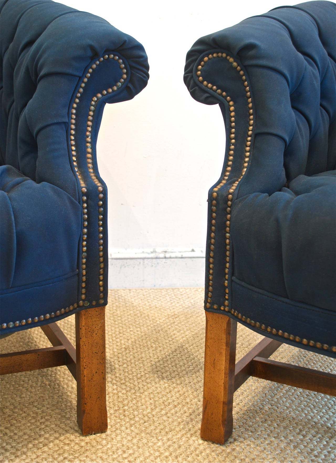 Navy Club Chair Button Tufted Club Chairs In Navy Canvas For Sale At 1stdibs