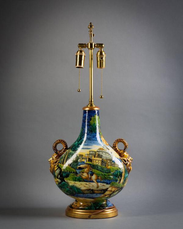 Italian Majolica Vase Mounted Lamp Cantagalli Circa