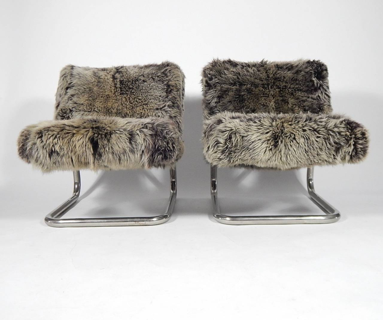 Furry Chairs Pair Of Tubular Chrome And Faux Fur Lounge Chairs 1970s