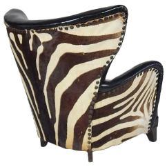 Zebra High Chair Stool 3d Model Danish Winged Club With Vintage Skin Circa