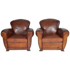 Art Deco Club Chairs Leather Mid Century Modern Living Room Pair Of French Circa 1930 At