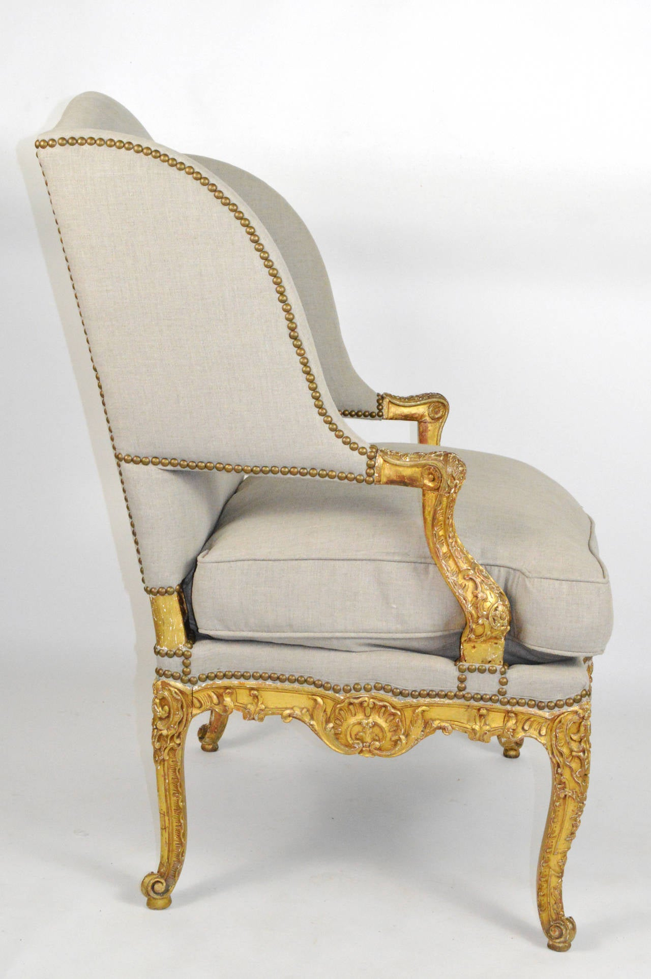 french louis chair circle bungee xv style giltwood fauteuil wing at 1stdibs