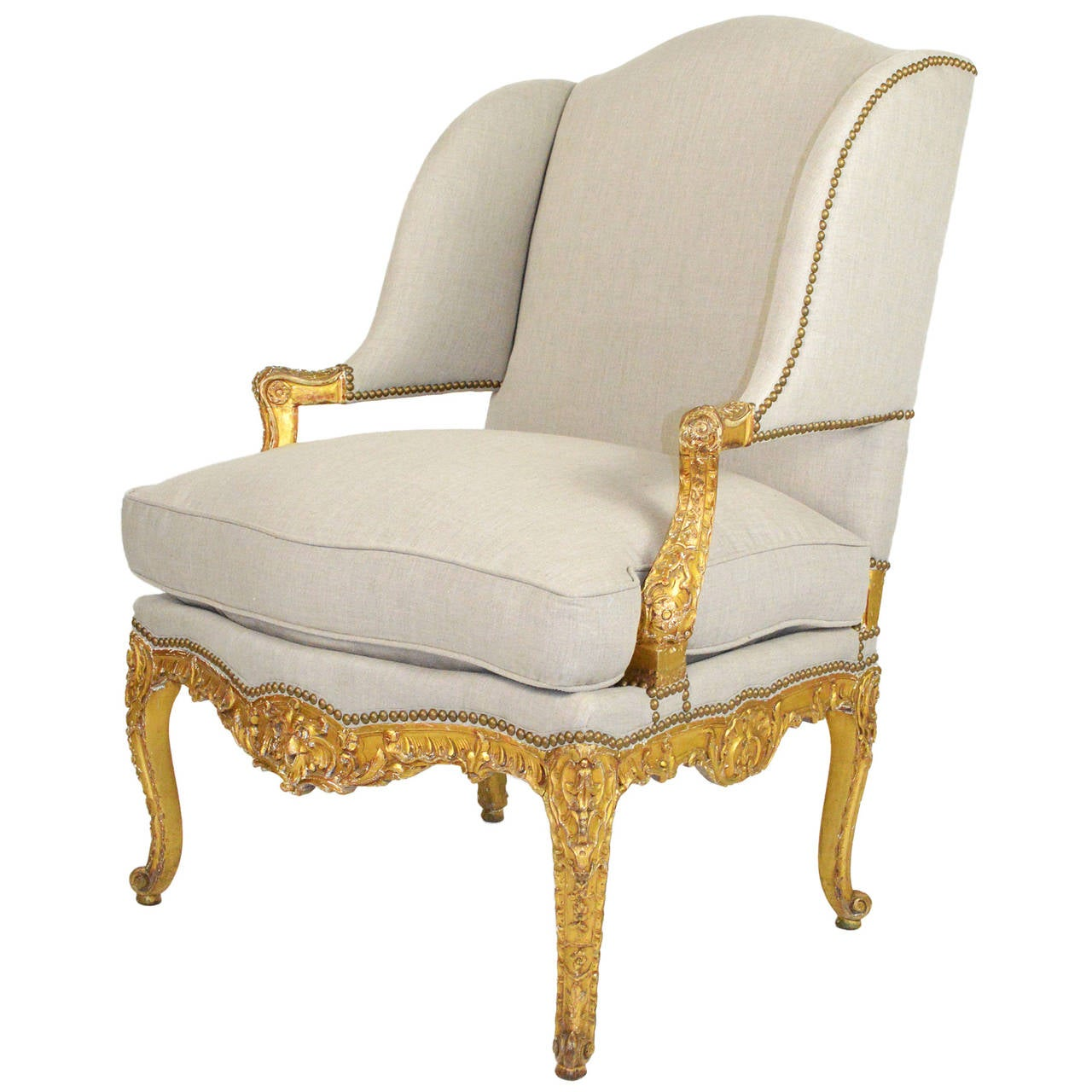 french louis chair with shade canopy xv style giltwood fauteuil wing at 1stdibs