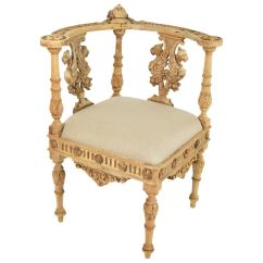 Wooden Corner Chair Peacock Hanging 19th Century Italian Baroque Style Carved Wood