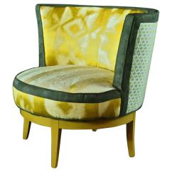 Yellow And Grey Chair White Plastic Chairs Mid Century Barrel With Swivel Base In Gray