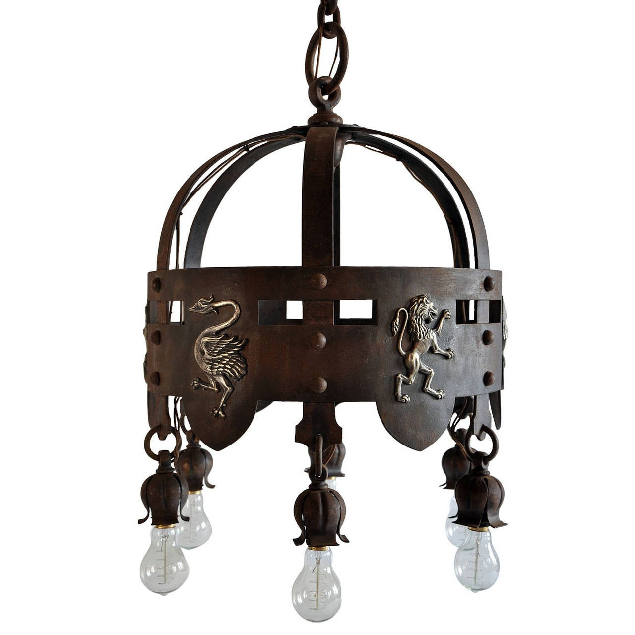 Iron Arts and Crafts Chandelier with Brass Emblems at 1stdibs