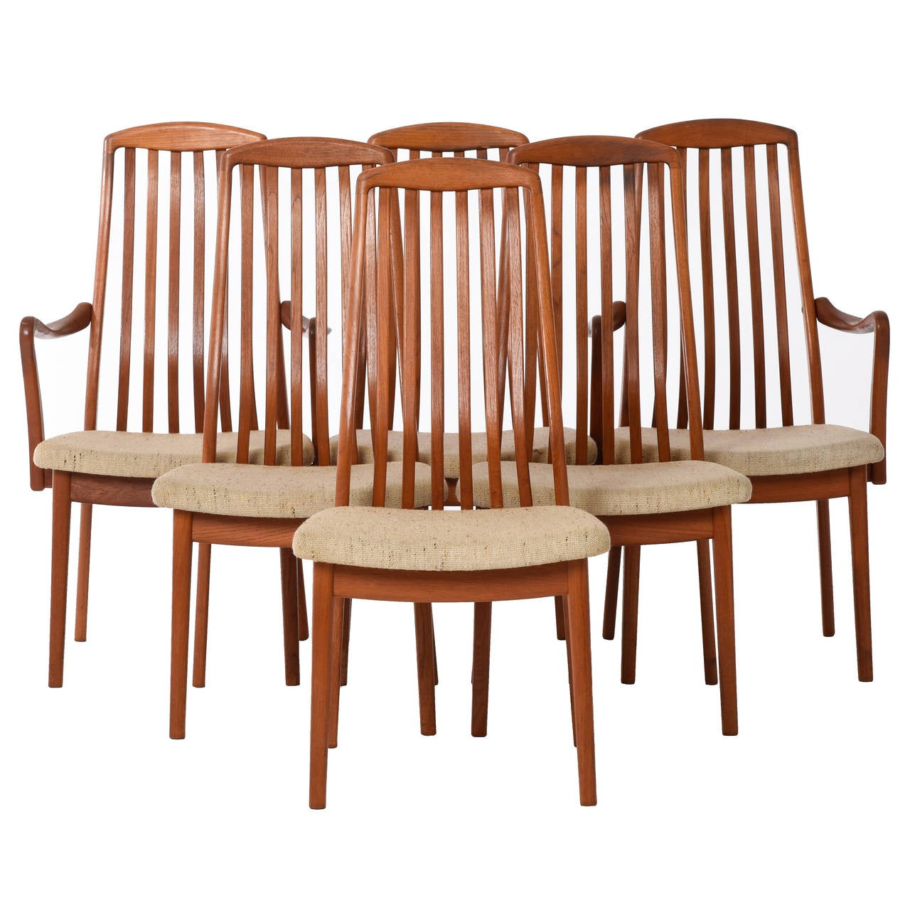 danish dining chair multi colored accent chairs modern slat back set of six at 1stdibs