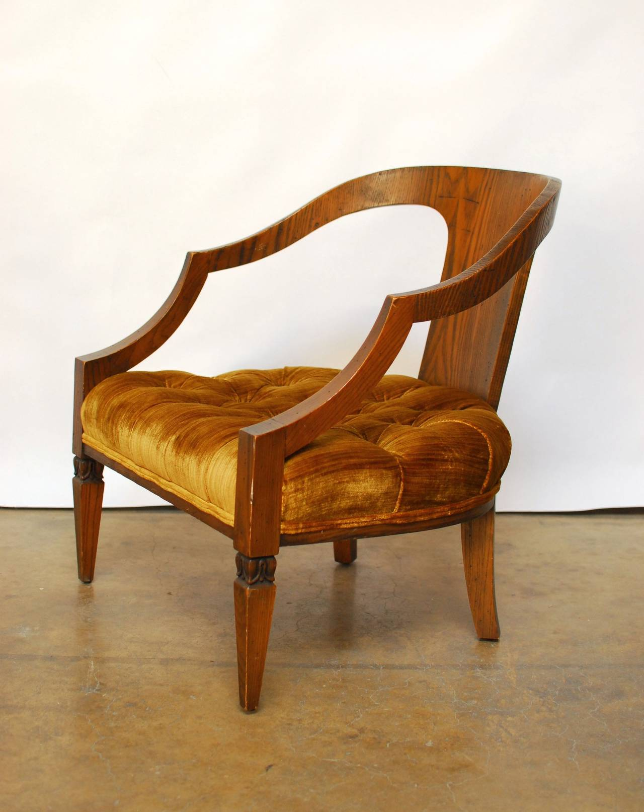 Modern Barrel Chair Pair Of Mid Century Modern Velvet Barrel Chairs At 1stdibs