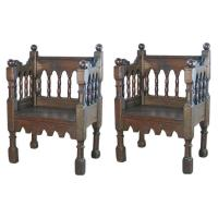 Pair of 19th century Italian Gothic Style Chairs For Sale ...