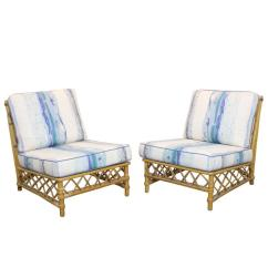 Ficks Reed Chair Linen Club Slipcovers Pair Of Rattan Lounge Slipper Chairs By At 1stdibs