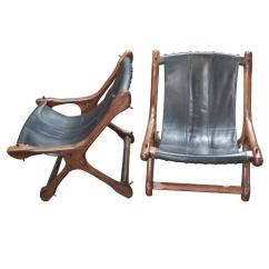 Sling Chairs For Sale Compact High Chair Pair Of Don Shoemaker In Black Leather