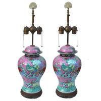 19th Century Famille Rose Ginger Jar Table Lamps with Bird ...