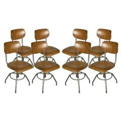 Adjustable Height Chairs Accent In Living Room Eight French Industrial Steel And Wood At For Sale