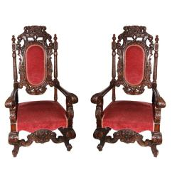 Throne Chair For Sale Banquet Half Covers Pair Of Large Antique Hand Carved Walnut Chairs