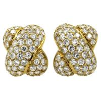 Pave Diamond gold X Earrings at 1stdibs