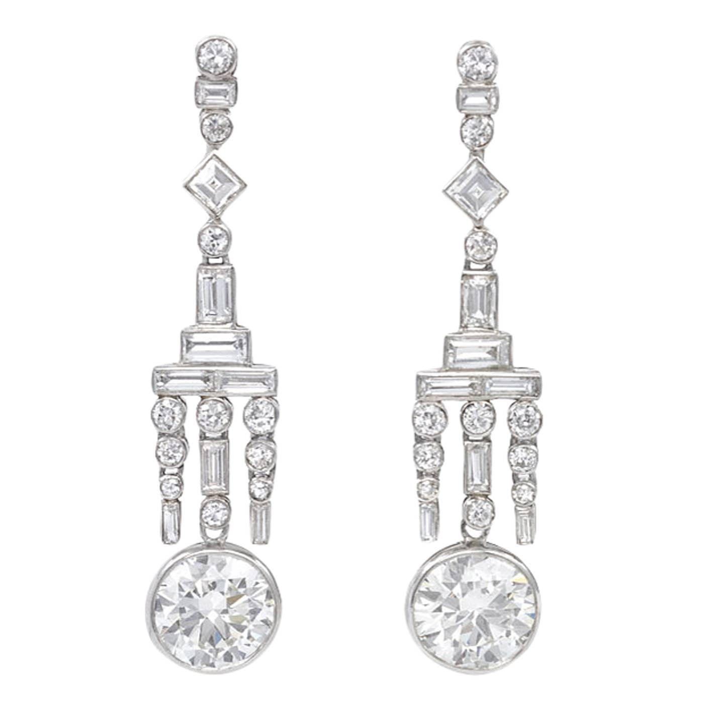 Art Deco Diamond Platinum Pendant Earrings For Sale at 1stdibs