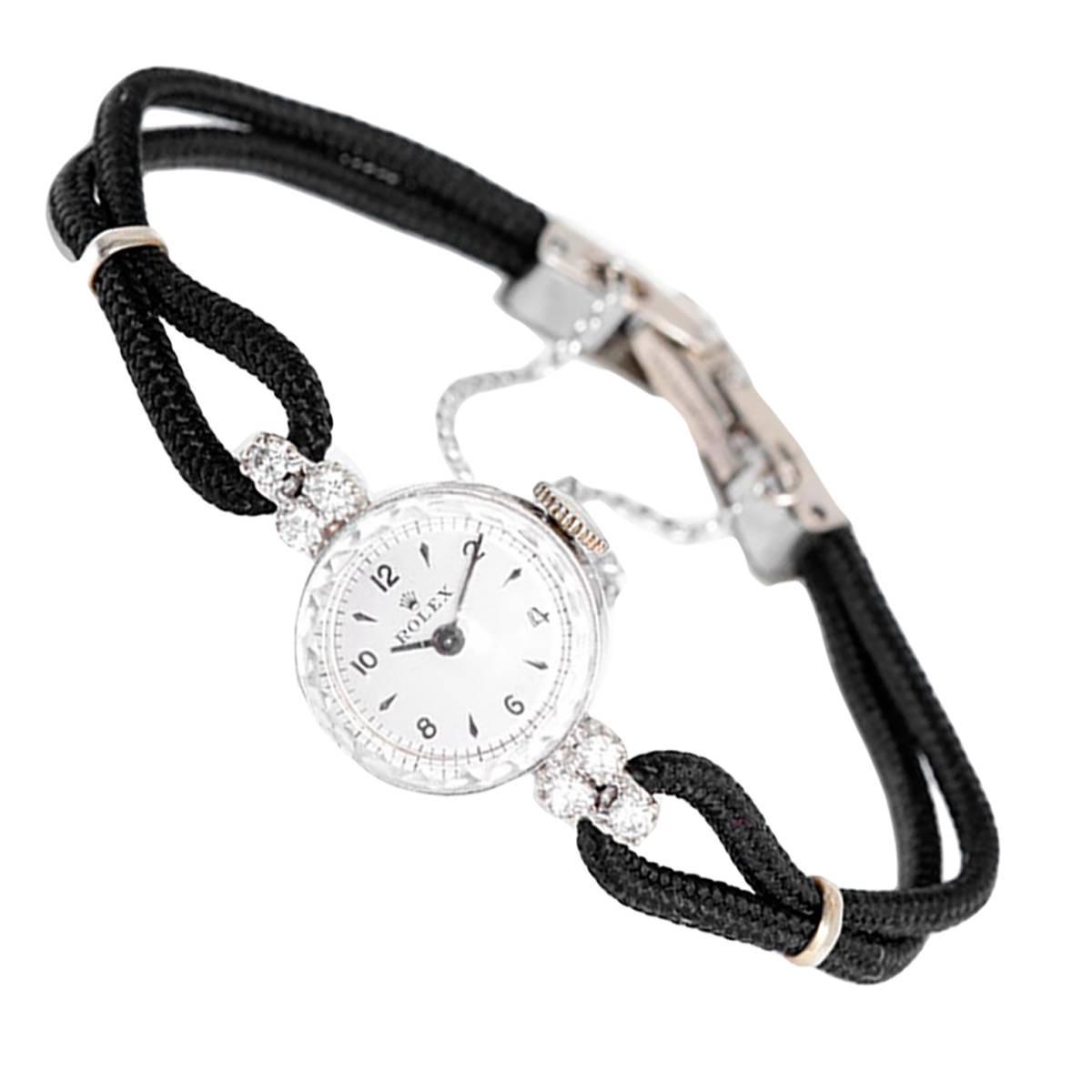 Rolex Lady's White Gold Diamond Dress Wristwatch at 1stdibs