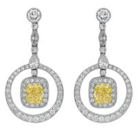 Canary Diamond Platinum Drop Earrings For Sale at 1stdibs