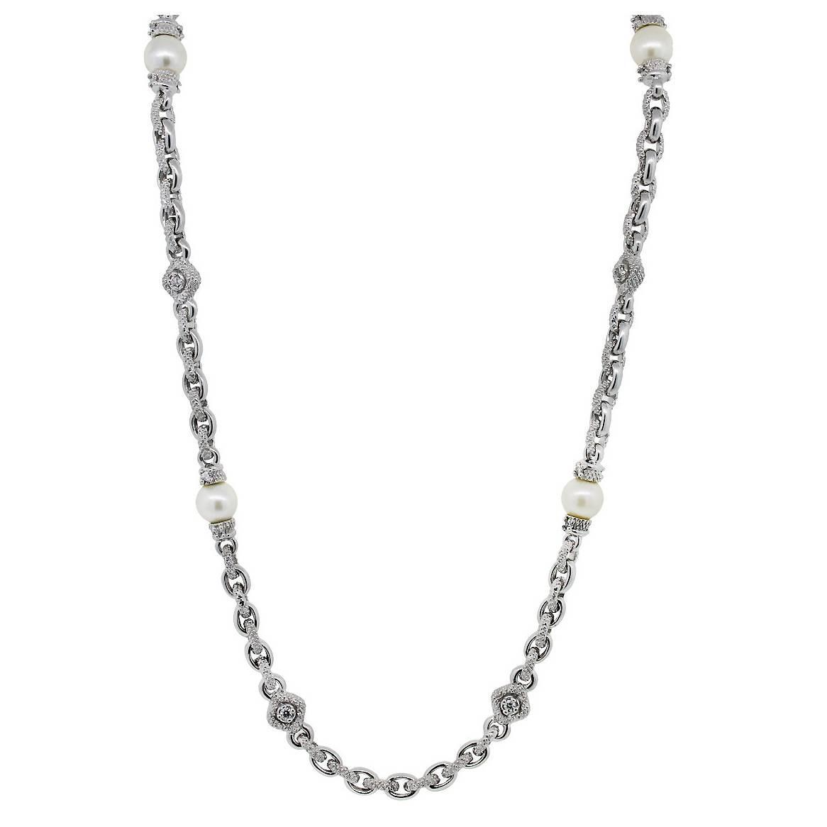 Judith Ripka Pearl Diamond Gold Necklace For Sale At 1stdibs