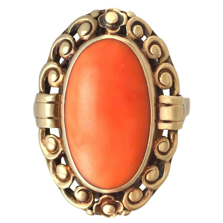 1930s Antique Coral And Yellow Gold Cocktail Ring For Sale