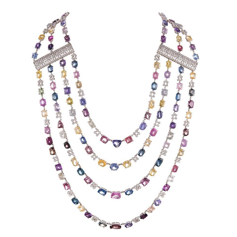 15884 Carat Colored Sapphire Diamond Gold Multi Strand