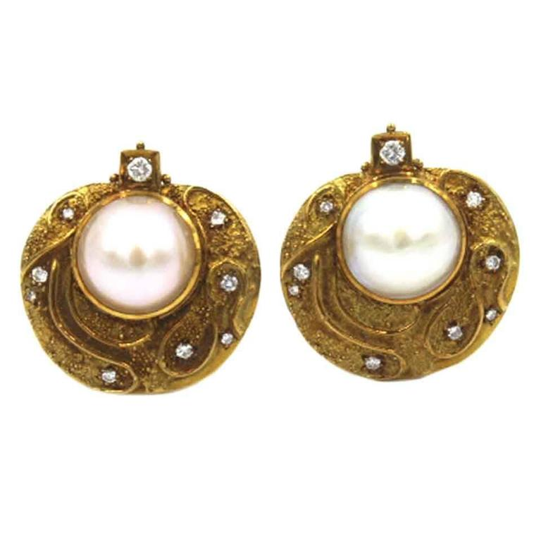 Elizabeth Gage Diamond Mabe Pearl Gold Clip Earrings at