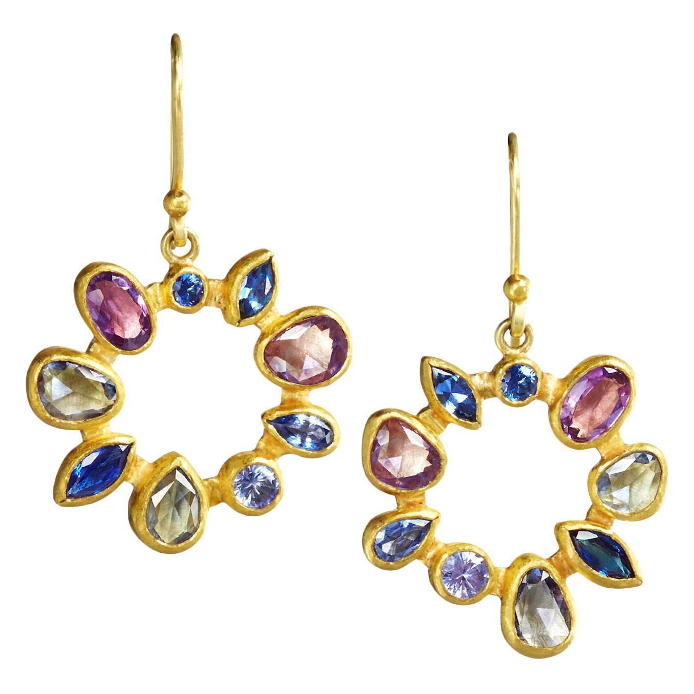Petra Class Multicolored Montana Sapphire Gold Radial Drop