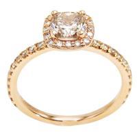 Rose Gold Cushion Canadian Champagne Diamond Engagement ...