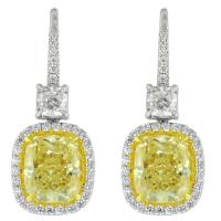8.22 Carat Canary Yellow Diamond Earrings For Sale at 1stdibs
