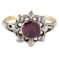 Antique Almondine Garnet Diamond Silver Gold Cluster Ring