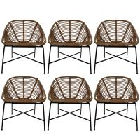 Six Midcentury Rattan, Wicker and Iron Patio Chairs, Italy ...