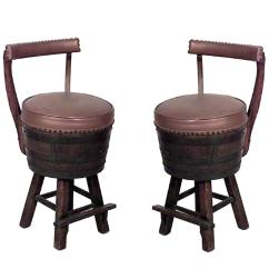 Hickory Chairs For Sale Antique High Chair With Wheels Pair Of 20th Century Rustic Old Oak Barrel Design